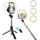 """Selfie Ringlicht mit Stativständer Telefonhalter Wiederaufladbares Selfie Stick Stativ,6,3"""" LED-Kamera Füllen Sie das Licht m"""