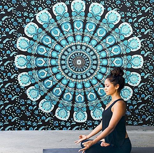 Dremisland Tapisserie Wandteppich Elefanten Indische Hippie Mandala Böhmische Tapestry Wand Hängende Dekor Blume Ombre Wandtuch Wandbehang Orientalisch Psychedelic (L/200*150cm, Mandala Grün)