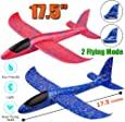 """Jiada Airplane Toy, 17.5"""" Large Throwing Foam Plane, Dual Flight Mode, Aeroplane Gliders, Flying Aircraft, Pack Of 1 - Assorted Colours"""