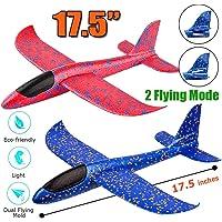 "Jiada Airplane Toy, 17.5"" Large Throwing Foam Plane, Dual Flight Mode, Aeroplane Gliders, Flying Aircraft, Pack Of 1…"