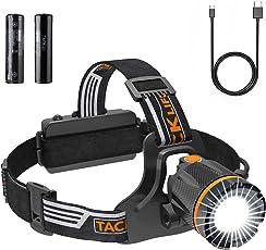 TACKLIFE Kopflampe LED, Stirnlampe USB, Wiederaufladbare, Wasserdicht Leichtgewichts Headlamp