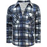 Whispering Jones London Mens Lumberjack Check Collar Padded Shirt Thick Fur Lined Hood Winter Work Shirt
