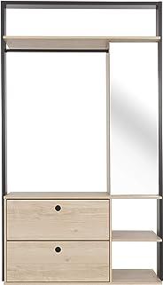 GAMI DUPLEX Open Wardrobe, Natural Chestnut, H200 x W115 x D45 cm, 1G72620