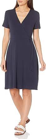 Amazon Essentials cap-Sleeve Faux-Wrap Dress Dresses Donna