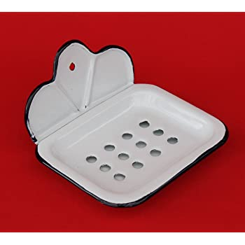 e7485fa663 Soap dish 618 Soap holder 13 cm enamelled Cottage Style Enamel Soap (white)