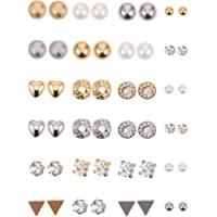 BBTO - Set di 24 paia di orecchini a perno con perle di cristallo, per ragazze, donne, uomini, argento e oro