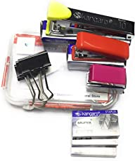 Stapler Make KANGARO 3 Sets No.10 (Standard Size L 95 mm)+ Mini -10 (Mini Size L 60 mm) + M-10 (Micro Size L 32mm) + 3 Sets Staples (1000 Staples Each Set) + 3 Binder Clips 32 mm Width + Plastic Box