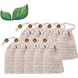 LATERN Sacchetti di Sapone, 10 Pezzi sisal Sacchettino per Sapone, Naturale Lino Antiscivolo Sapone Bag Pouch per Doccia Mass