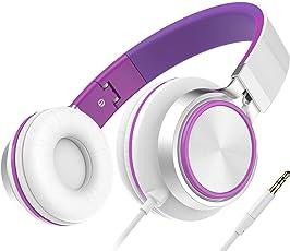 Kopfhörer für Kinder, Honstek Faltbarer und Leichter on-Ear Kopfhörer, Stereo Kabelgebundenes Komfortables Headset für iPhone iPad Android Handys Computer Tablets MP3/MP4(Weiß/Violett)
