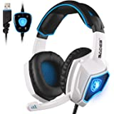 SADES LYSB01E8RS598-CMPTRACCS Spirit Wolf 7.1 Surround Stereo Sound USB Computer Gaming Over-the-Ear Noise Isolating Headsets