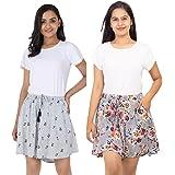 B STORIES Women's Viscose Printed Lounge Shorts (Pack of 2)