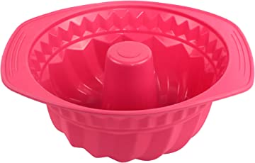 Webake Gugelhupfform Backform Kuchenform aus Silikon, Antihaftbeschichtung Ø22cm - Rot