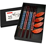 4 Paia di Bacchette, Bacchette in Legno Giapponese di Alta Qualità, Bacchette in Legno Naturale con Supporto per Bacchette, p