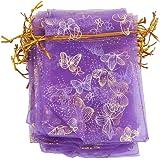 Lot de 100pcs Pochette à Bijoux Sac de Cadeau en Organza pour Mariage 9x12cm Violet