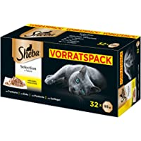 Sheba Adult Katzen-/Nassfutter Multipack, für erwachsene Katzen Selection in Sauce, 32 Schalen (32 x 85 g)