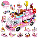 VATOS STEM Building Toys, 553 PCS Ice Cream Truck Building Blocks Set for 5 6 7 8 9 10 Years Old Girls, 25 Model Pink Creativ
