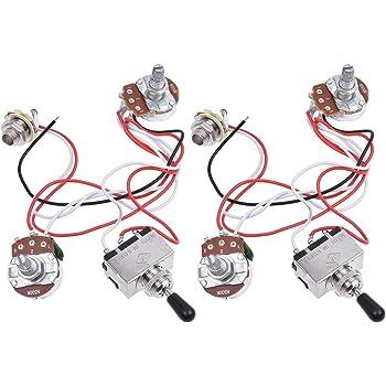 Les paul sg 500k complete guitar wiring kit 033uf caps premium kmise electric guitar wiring harness kit 3 way toggle switch 1v1t 500k pots for les paul lp parts 2 sets freerunsca Images