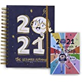 Alicia Souza - The 2021 Ultimate Planner & Pocket Planner | Gold Spiral Binder | Sturdy Printed Box | Adorable Illustrations