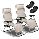 SUNMER Set of 2 Sun Lounger Garden Chairs With Cup And Phone Holder | Deck Folding Recliner Zero Gravity Outdoor Chair - Grey