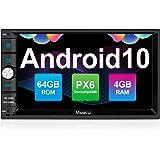 Vanku Android 10 Radio 2 DIN Autoradio con PX6, 4GB+64GB, Qualcomm BT 5.0, GPS, Soporte Control Volante, WiFi, USB, SD, Mirro
