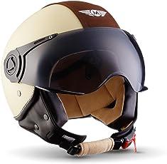 Moto Helmets H44 Vintage Creme · Bobber Pilot Helmet Scooter-Helm Retro Biker Chopper Roller-Helm Vespa-Helm Jet-Helm Vintage Moto Helmetsrrad-Helm Mofa Cruiser · ECE zertifiziert · inkl. Sonnenvisier · inkl. Stofftragetasche · Beige · L (59-60cm)