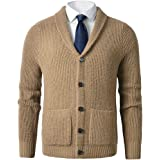 ZHILI Men's Shawl Collar Cardigan Sweater Slim Fit Cable Knit Button up Merino Wool Sweater