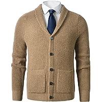 ZHILI - Cardigan da uomo con collo a scialle e collo a maglia, con bottoni, in lana merino