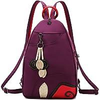 Jywmsc Damen Stilvoll Nylon Leicht Rucksack Schultertasche Draussen Brusttasche mit USB-Ladeanschluss (01 Dunkelviolett)