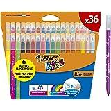 BIC Kids Kid Couleur Rotuladores para niños, Punta Media - Colores Surtidos, Estuche de 36 Unidades - rotuladores lavables id