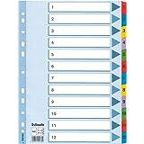 Esselte Intercalaires A4 1-12, Touches et Bande Perforée Renforcées en Mylar, Carton Résistant, Bleu, 12 Onglets avec Table d