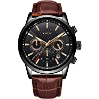 LIGE Mens Watches Fashion Waterproof Sports Chronograph Analogue Quartz Stainless Steel Black Dial Leather Bracelet…