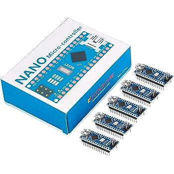 KOOKYE Nano ATmega328p CH340G Compatible with Nano (5PCS Nano Board)