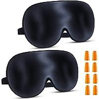 Schlafmaske Seide Augenmaske , 2 Pack 100% Hautfreundlich Seide Schlafmaske Frauen und Herren mit Verstellbarem…