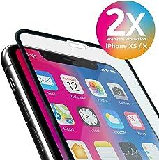 iPhone XS / X Panzerglas 9H Premium Frame Line [2 Stück] NEUE VERSION volle randlose Abdeckung [absolut passgenau mit Rand] mit Schablone Rahmen [3D Touch Panzerglas Folie] für Apple iPhone XS/X iPhone 10