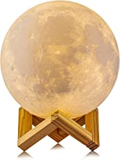 House of Quirk 3D Printed 5.9-inch Rechargeable Moon Night Lamp for Home Decor, Kids and Lover(White)