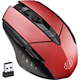 INPHIC Mouse Wireless Ricaricabile, Mouse Senza Fili Ergonomico da 2,4G con Ricevitore USB, 6 Pulsanti, 800/1200/1600 DPI per