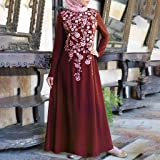 Women Muslim Two-Piece Maxi Dress Solid Long Sleeve Abaya Kaftan Islamic Indonesia Robe Long Skirt Cloak With Hijab Suit(Red,
