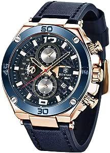 Montres Hommes BY BENYAR Chronographe Date Étanche Design élégant Bracelet Analogique Quartz en Cuir Montres Bracelet pour Homme 5151