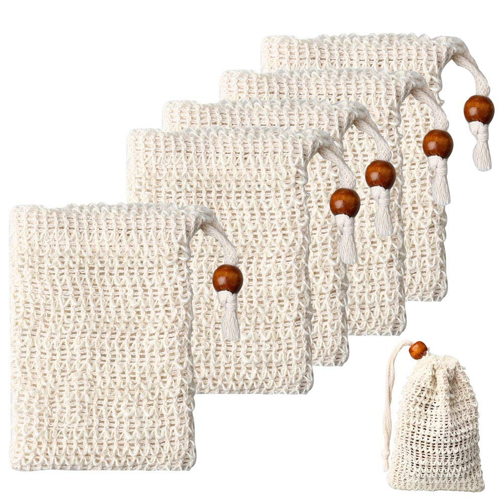 5 PCS Sisal Soap Bag with Drawstring Natural Soap Saver Pouch for Shower Bath