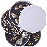 Ulikey Forma Rotonda Portagioielli, Jewellery Organizer Scatole Portagioie con 4 Strati, Piccolo Portagioie da Viaggio Scatol