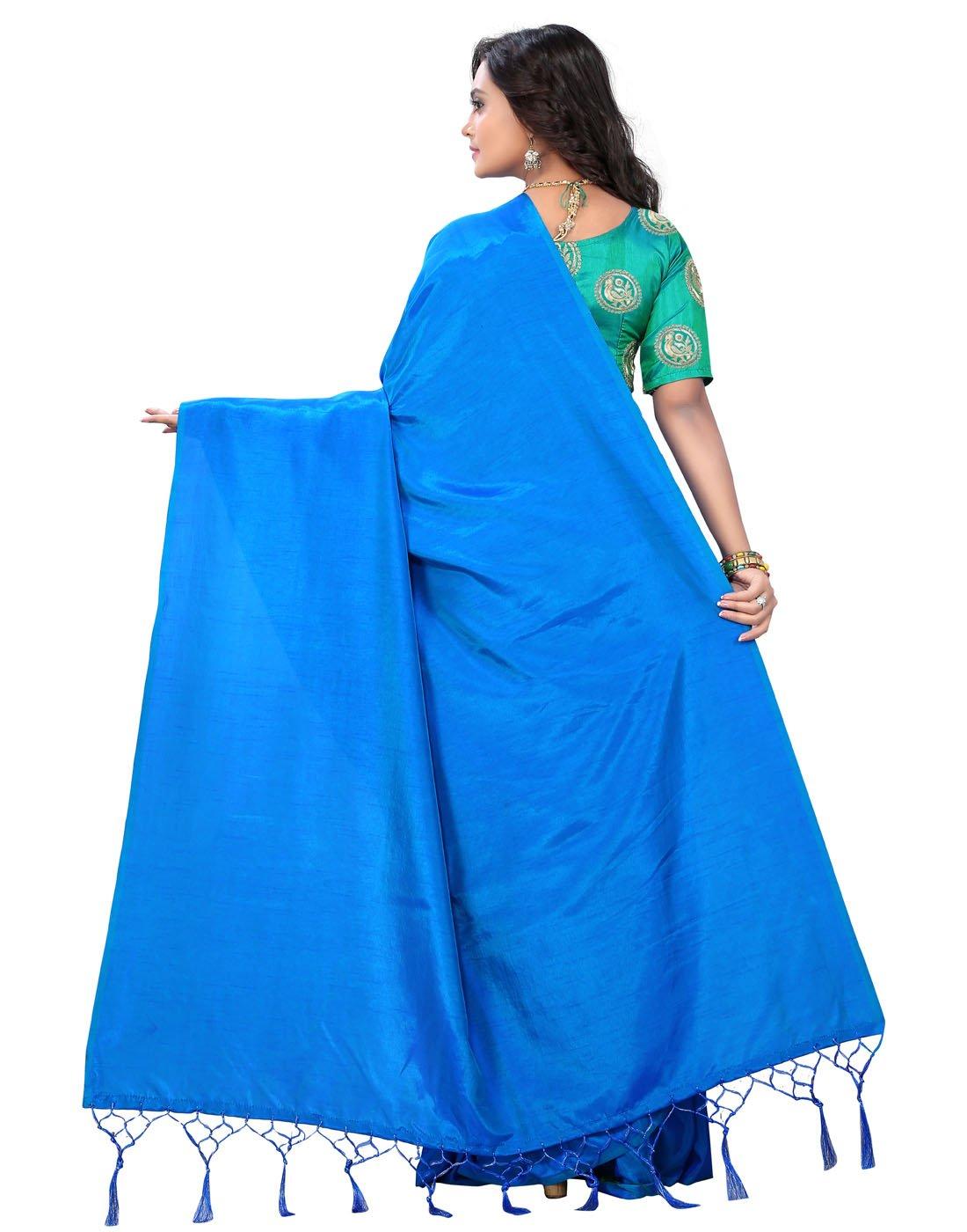 e688c69889491 e-VASTRAM Women s Art Silk Plain Soft Tassel Saree with Unstitched ...