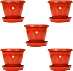 Gamla / Planter / Pot 8-inch (pack of 5 Pots) (Red / terracotta colour pot)with Bottom plate / tray (5 PC's)  (tray colour terracotta /red) For garden Balcony Flowering Pot by Kraft Seeds