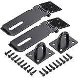 JIZZU 2 Pack 3 inch zwarte deursloten voor tuinpoort interne deurvergrendelingen, niet-vervormbare poortslot voor houten poor
