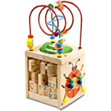 BeebeeRun Actividad de Madera Cubo 6 en 1 Juguete de Madera Educativo para niños pequeños y Juguetes (Wooden)