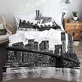 SUHETI Parure de lit Adulte,Housse de Couette,Brooklyn Bridge et Les toits de Manhattan dans la Nuit, New York City,1 Housse