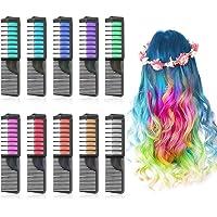 Lictin Hair Chalk Dye Combs - Hair Chalk for Kids 10 Colors Temporary Hair Colour Chalk Comb Chalk Hair Dye for Girls Halloween DIY, Cosplay