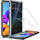 LK Compatible with Samsung Galaxy A21s Case and 2 Pack Tempered Glass Screen Protector, Shock-Absorbing Air Cushion Corners B