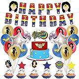 Wonder Woman Decorazioni per feste di compleanno 44 PCS Tema Wonder Woman Forniture per striscioni di buon compleanno Toppers