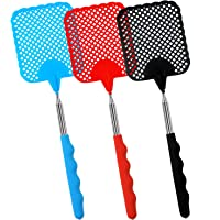 Elcoho 3 Pack Extendable Fly Swatter Lightweight Manual Swat Pest Control with Adjustable Stainless Steel Telescopic Handle