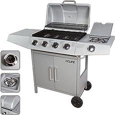CCLIFE BBQ Barbecue griglia a gas con 3/4/5/6 bruciatori principali e uno bruciatore laterale del color argento o nero